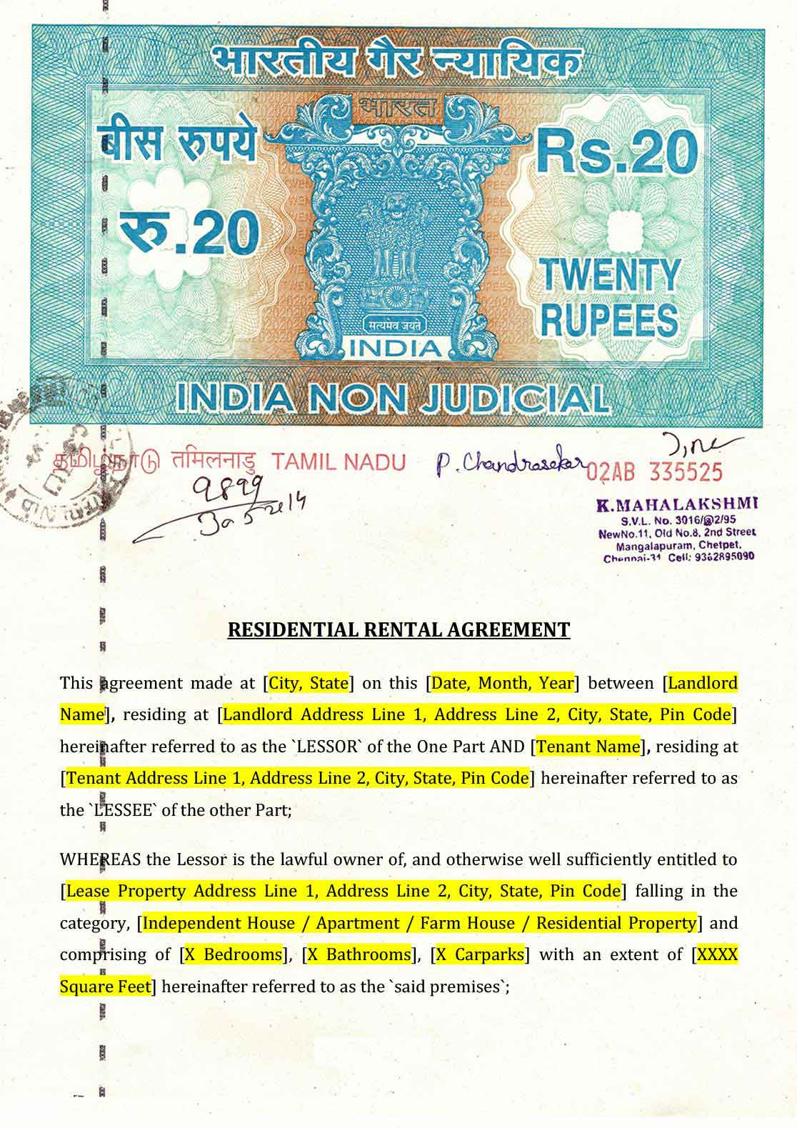 Sample Rental Agreement Format In Chennai